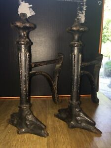 A Large Heavy Pair Of Vintage English Cast Iron Figural Fire Dogs Andirons