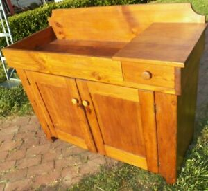 Primitive Pine Dry Sink Cabinet Rustic Antique Cupboard With Drawer
