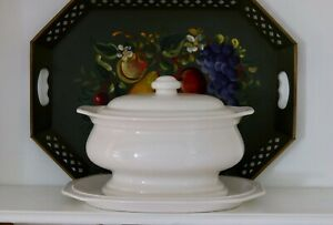 Vintage White Ironstone Soup Tureen Hearth Pattern Platter