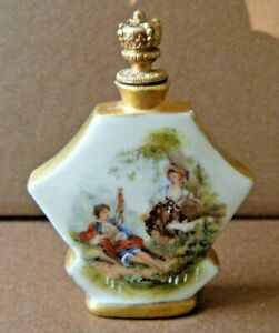 Antique Porcelain Perfume Bottle Stopper Brass Crown Hand Painted Signed Germany