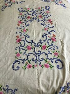 Vintage Hand Embroidered Linen Tablecloth 64 X 46