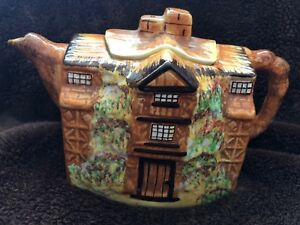 Antique 1934 Arthur Wood Morton Old Hall Village Ceramic Teapot Made In England