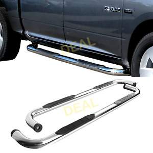 2pcs 3 Round S s Side Step Nerf Bars Fit 09 18 Dodge Ram 1500 Quad extended Cab