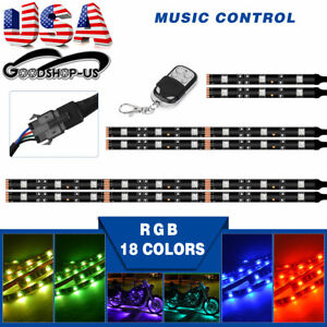 Sound Control 18 Colors Rgb Remote Motorcycle Strip Led Neon Light 6pcs Kit Us