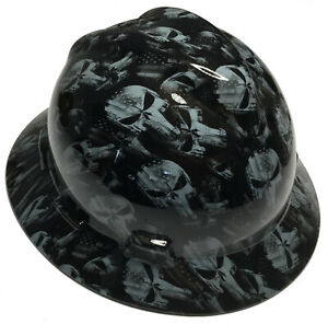 Hydro Dipped Msa Full Brim Vgard Hard Hat Gray Punisher High Gloss
