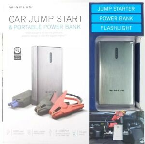 Winplus Car Jump Start Power Bank W Light 2 Usb Ports Jumper Cables Light Use