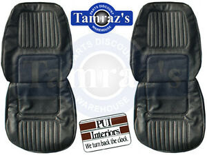 1970 Camaro Standard Front Seat Covers Upholstery Black Pui New