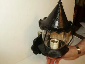 Antique Tudor Witch Hat Black Outdoor Light Fixture 1620
