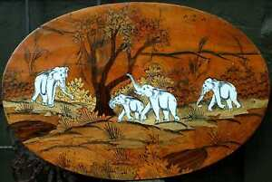 Oval Inlaid Elephants Marquetry Wood Art Plaque Engraved Cow Bone Inset India