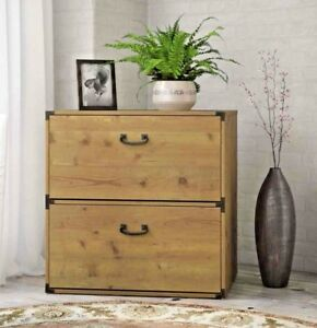 Wood Filing Cabinet 2 Drawer Lateral Horizontal Metal Accents 3 Yr Warranty