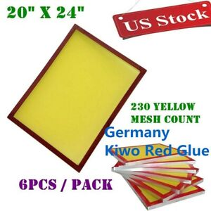 Usa 6pcs 20 X 24 Aluminum Screen Printing Frames With 230 Yellow Mesh Count