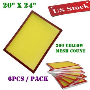 Usa 6 Pcs 20 X 24 Aluminum Screen Printing Frames With 200 Yellow Mesh Count