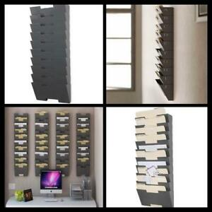 Vertical File Organizer Wall Mount Document Holder Rack 10 Section Sorter New
