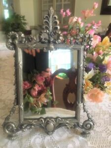 A Gorgeous Rare Vintage Victorian Ornate Metal Vanity Mirror Easel Stand
