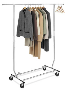 Collapsible folding Rolling Clothing Garment Rack Salesman s Rack