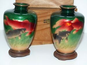 Rare Pair Of Antique Boxed Japanese Ginbari Green Cloisonn Fish Vases Signed