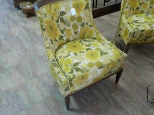 Drexel Heritage Mid Century Modern Low Profile Club Chairs Pair
