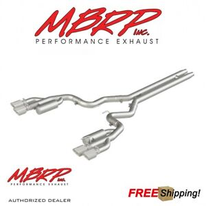 Mbrp 3 Catback Quad Tip Dual Exhaust Kit For 18 19 Mustang Gt 5 0l Aluminum