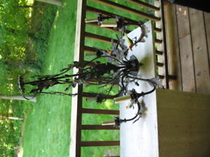 Unusual Vintage Tole 6 Light Chandelier Acorns Birds