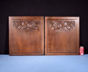 Pair Of French Art Deco Hand Carved Panels In Walnut Wood Salvage
