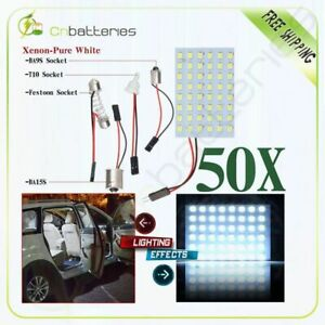 50x Festoon T10 Ba9s 1156 Cool White Led 48smd Panel Interior Dome Map Lights