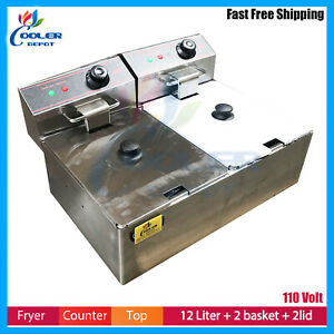 12l Commercial Electric Deep Fryer Countertop Basket French Fry Restaurant Home