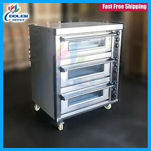 Pizza Oven Electric 220v Triple Door Bakery Pizzeria Cooker Wings Commercial New