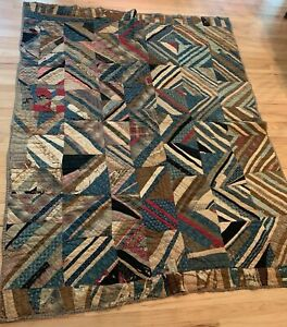 Stunning Antique Hand Made Hand Quilted Crazy Patch Work Quilt 60 X 79