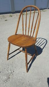 Vintage Antique Wood Walnut Spindle Back Phoenix Chair Company Kitchen Seat