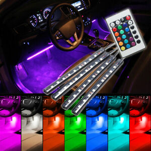 4pcs 9led Remote Control Colorful Rgb Car Interior Floor Atmosphere Light Strip