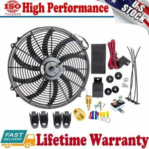 Carbole 16 Inch Electric Radiator Cooling Fan 12v 3000cfm Relay Thermostat Kit