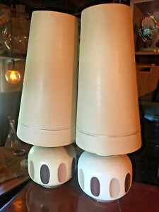 Atomic 2 Mid Century Modern Pair Table Lamps Cone Shades