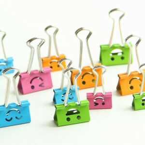 Smile Face Metal Binder Clips File Paper Clip Photo Stationary Office Supplies