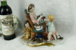 Capodimonte Tyche Porcelain Group Mother Childres Sewing Statue Figurine Marked