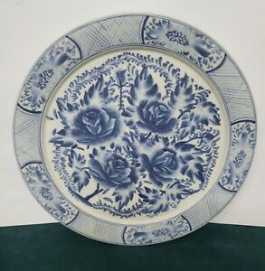 Antique Porcelain Blue And White Floral Plate