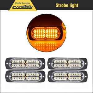 4pcs 20led Work Light Amber Car Emergency Beacon Warning Hazard Flash Strobe Bar