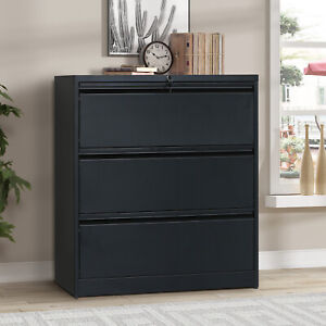 Office 3 drawers Heavy duty Lateral File Cabinet With Keys Home Furniture Black