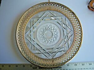 Vintage Webster Sterling Silver Overlay Press Glass Bon Bon Plate Free Shipping