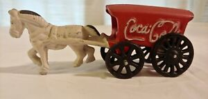 Vintage / Antique -- COCA~COLA  Cast Iron Horse and Red Wagon