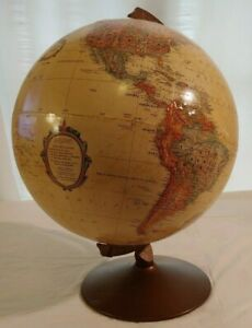 Vintage Replogle Globe 12 Inch Diameter Tan World Classic Series Made In Usa