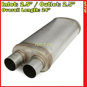 Stainless Steel Straight thru Exhaust Muffler 2 5 Inch Two Outlets Offset Inlet