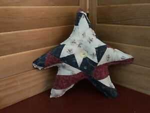 Primitive Americana Quilted Star Barn Red White Blue 12
