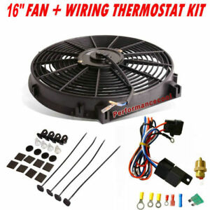 16 Electric Radiator Pull Push Fan 2500cfm Thermostat Wiring Switch Relay Kit
