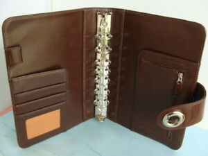 Julie Morgenstern Brown Leather Classic 1 rings Franklin Covey Planner Binder