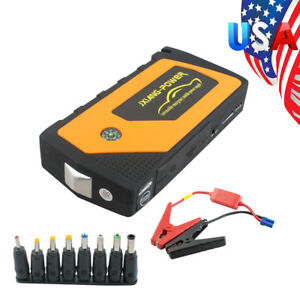 Battery Jump Starter 600a Peak Car Suv Charger Booster Jumper Cables Led Light