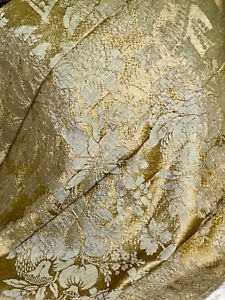 Antique French Lyon Silk Brocade Panel Flowers Chateau Castle Ruins