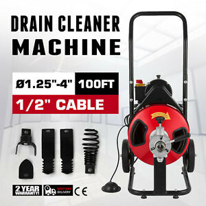 Commercial Drain Cleaner 100 x1 2 Sewer Snake Drain Cleaning Machine 5 Cutters
