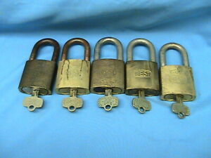 5 Used Best Lock Brass Padlocks 6 Pin Cores With Keys With Steel brass Shackles