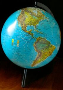 Vintage 1992 French Lighted 10 Scan World Globe Denmark On Plexi Stand