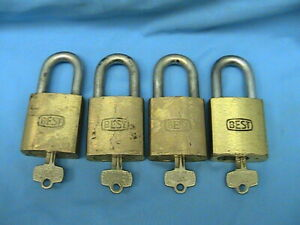 4 Used Best Lock Brass Padlocks 6 Pin Cores With Keys With Steel Shackles